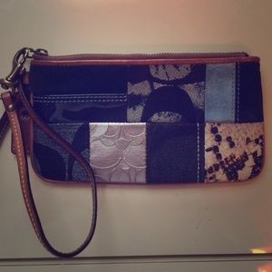 Coach Denim Patchwork Wristlet